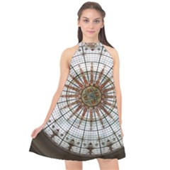 Dome Glass Architecture Glass Dome Halter Neckline Chiffon Dress  by Wegoenart