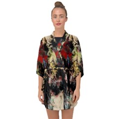 Ara Bird Parrot Animal Art Half Sleeve Chiffon Kimono by Wegoenart