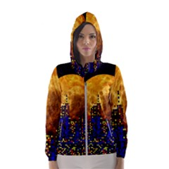 Skyline Frankfurt Abstract Moon Hooded Windbreaker (women)