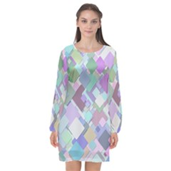 Colorful Background Multicolored Long Sleeve Chiffon Shift Dress