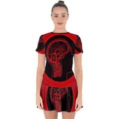 Artificial Intelligence Brain Think Drop Hem Mini Chiffon Dress