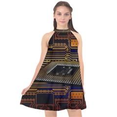 Processor Cpu Board Circuits Halter Neckline Chiffon Dress