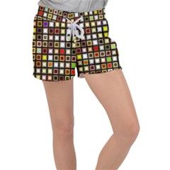 Squares Colorful Texture Modern Art Women s Velour Lounge Shorts by Bejoart