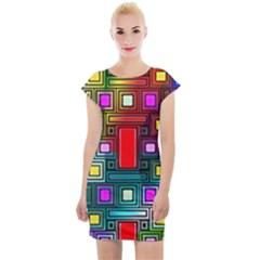 Art Rectangles Abstract Modern Art Cap Sleeve Bodycon Dress