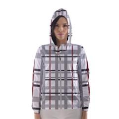 Fabric Plaid Grey Gray Burgundy Hooded Windbreaker (women) by Wegoenart