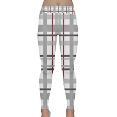 Fabric Plaid Grey Gray Burgundy Classic Yoga Leggings by Wegoenart