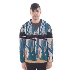 Forest Artwork Card Greeting Woods Hooded Windbreaker (men) by Wegoenart
