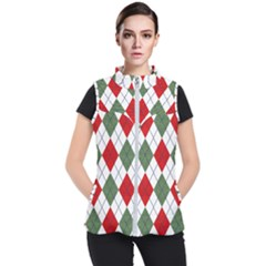 Red Green White Argyle Navy Women s Puffer Vest by Wegoenart