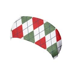 Red Green White Argyle Navy Yoga Headband by Wegoenart