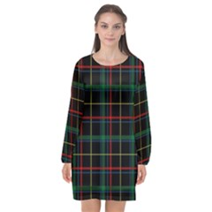 Plaid Tartan Checks Pattern Long Sleeve Chiffon Shift Dress  by Wegoenart