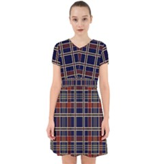 Plaid Tartan Scottish Navy Gold Adorable In Chiffon Dress by Wegoenart