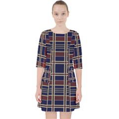 Plaid Tartan Scottish Navy Gold Pocket Dress by Wegoenart