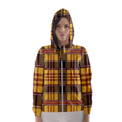 Plaid Tartan Scottish Yellow Red Hooded Windbreaker (women)