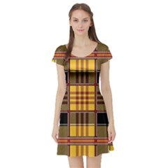 Plaid Tartan Scottish Yellow Red Short Sleeve Skater Dress by Wegoenart
