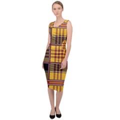 Plaid Tartan Scottish Yellow Red Sleeveless Pencil Dress by Wegoenart