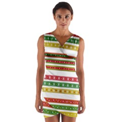 Christmas Ribbons Christmas Gold Wrap Front Bodycon Dress
