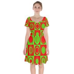 Red Green Christmas Background Short Sleeve Bardot Dress by Wegoenart