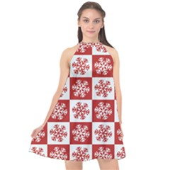 Snowflake Red White Halter Neckline Chiffon Dress  by Wegoenart