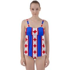Stars Stripes July 4th Flag Blue Twist Front Tankini Set