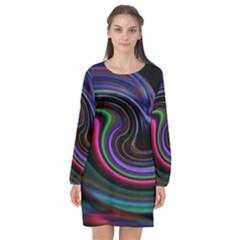 Art Abstract Colorful Abstract Long Sleeve Chiffon Shift Dress  by Wegoenart