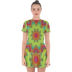 Abstract Art Abstract Background Green Drop Hem Mini Chiffon Dress by Wegoenart