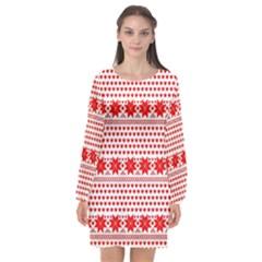 Fairisle Pattern Background Red Long Sleeve Chiffon Shift Dress