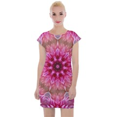 Flower Mandala Art Pink Abstract Cap Sleeve Bodycon Dress by Wegoenart