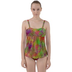 Easter Egg Colorful Texture Twist Front Tankini Set by Wegoenart