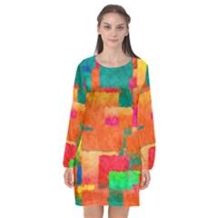 Pattern Texture Background Color Long Sleeve Chiffon Shift Dress  by Wegoenart