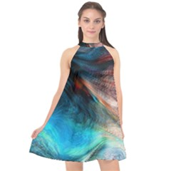 Background Art Abstract Watercolor Halter Neckline Chiffon Dress  by Wegoenart
