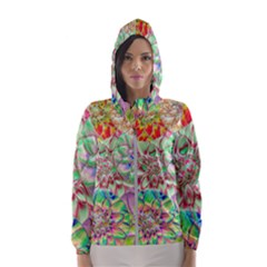 Dahlia Flower Colorful Art Collage Hooded Windbreaker (women)