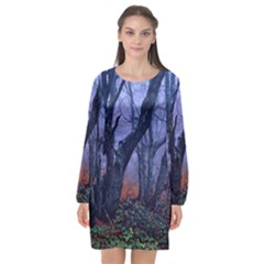 Beeches Autumn Foliage Forest Tree Long Sleeve Chiffon Shift Dress  by Wegoenart