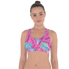 Leaves Tropical Reason Stamping Cross String Back Sports Bra by Wegoenart