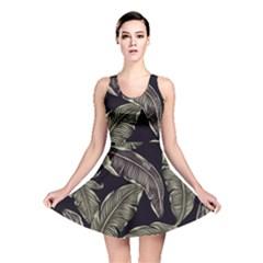 Jungle Leaves Tropical Pattern Reversible Skater Dress by Wegoenart