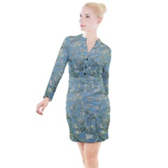 Van Gogh Almond Blossom Button Long Sleeve Dress