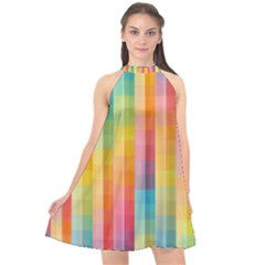 Pattern Background Colorful Abstract Halter Neckline Chiffon Dress  by Wegoenart