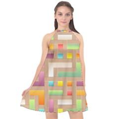 Abstract Background Colorful Halter Neckline Chiffon Dress  by Wegoenart