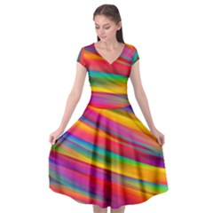 Colorful Background Cap Sleeve Wrap Front Dress by Wegoenart