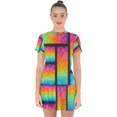 Background Colorful Abstract Drop Hem Mini Chiffon Dress by Wegoenart