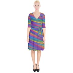 Colorful Background Wrap Up Cocktail Dress by Wegoenart