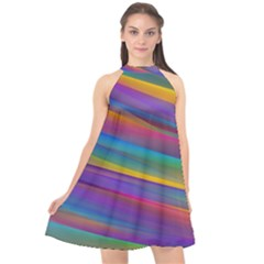 Colorful Background Halter Neckline Chiffon Dress  by Wegoenart