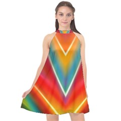 Colorful Background Art Pattern Halter Neckline Chiffon Dress  by Wegoenart