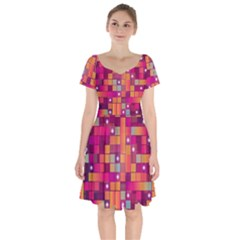 Abstract Background Colorful Short Sleeve Bardot Dress by Wegoenart