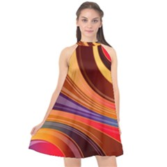 Abstract Colorful Background Wavy Halter Neckline Chiffon Dress  by Wegoenart