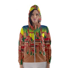 Mountain Village Village Medieval Hooded Windbreaker (women) by Wegoenart