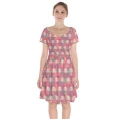 Colorful Background Abstrac Pattern Short Sleeve Bardot Dress by Wegoenart