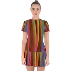 Abstract Background Colorful Drop Hem Mini Chiffon Dress by Wegoenart