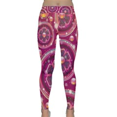 Pink Abstract Background Floral Glossy Classic Yoga Leggings by Wegoenart