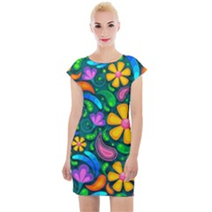 Floral Paisley Background Flowers Cap Sleeve Bodycon Dress