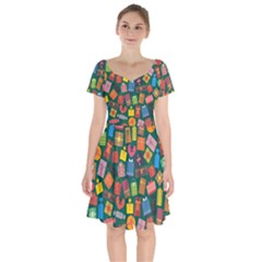 Presents Gifts Background Colorful Short Sleeve Bardot Dress by Wegoenart